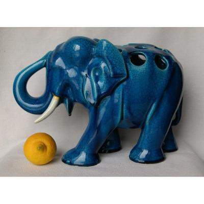 Blue Elephant In Cracked Earthenware 1950