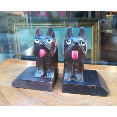 Dogs Wooden Bookends 1930