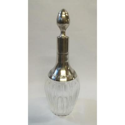 Liquor  Bottle Crystal And Silver 1900