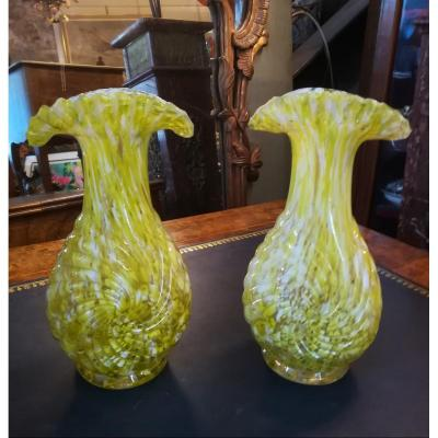 Pair Corolle Vases Clichy 2nd Half Of The 19th