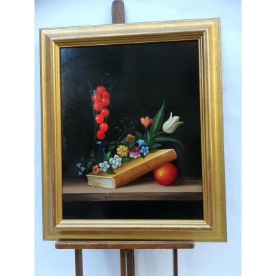 Still Life The Cherries By Carl Prévot 20th