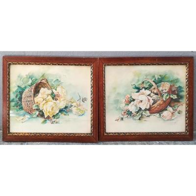 Paire d'Aquarelles De Roses 1920