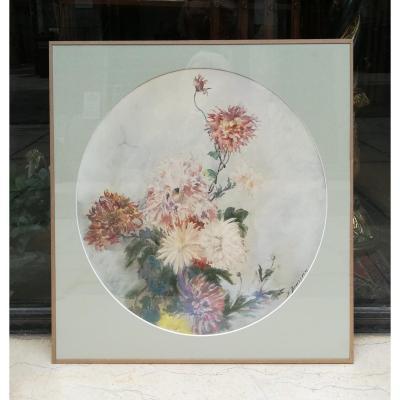 Aquarelle De Fleurs 1900