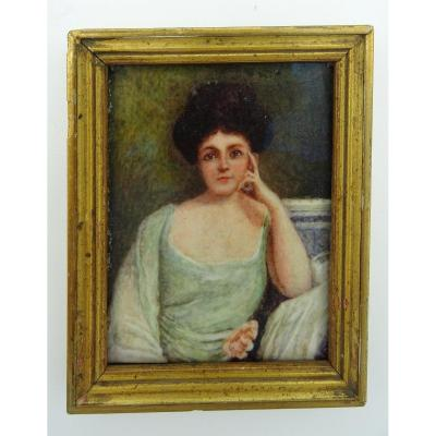 Miniature On Ivory Portrait Of Lady With A Rose 1900/1930