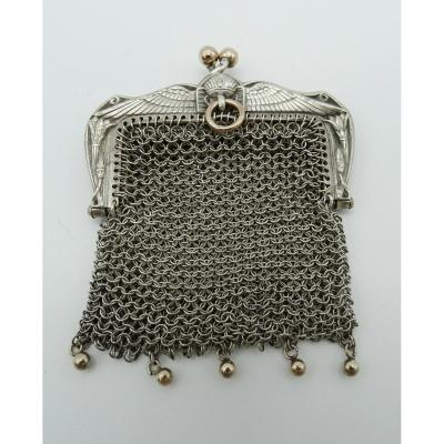 Egyptian Style Silver And Vermeil Purse Late 19th