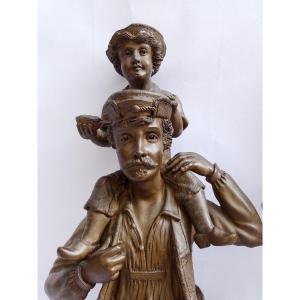 Paire De Grandes Statues En Terre Cuite  signées J. Rogron Fin 19ème