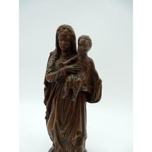 Petite Statue De Vierge à l' Enfant En Noyer Fin 19ème