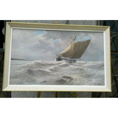 Oil On Panel Marine Sailboat Signed R. Planchet 1944