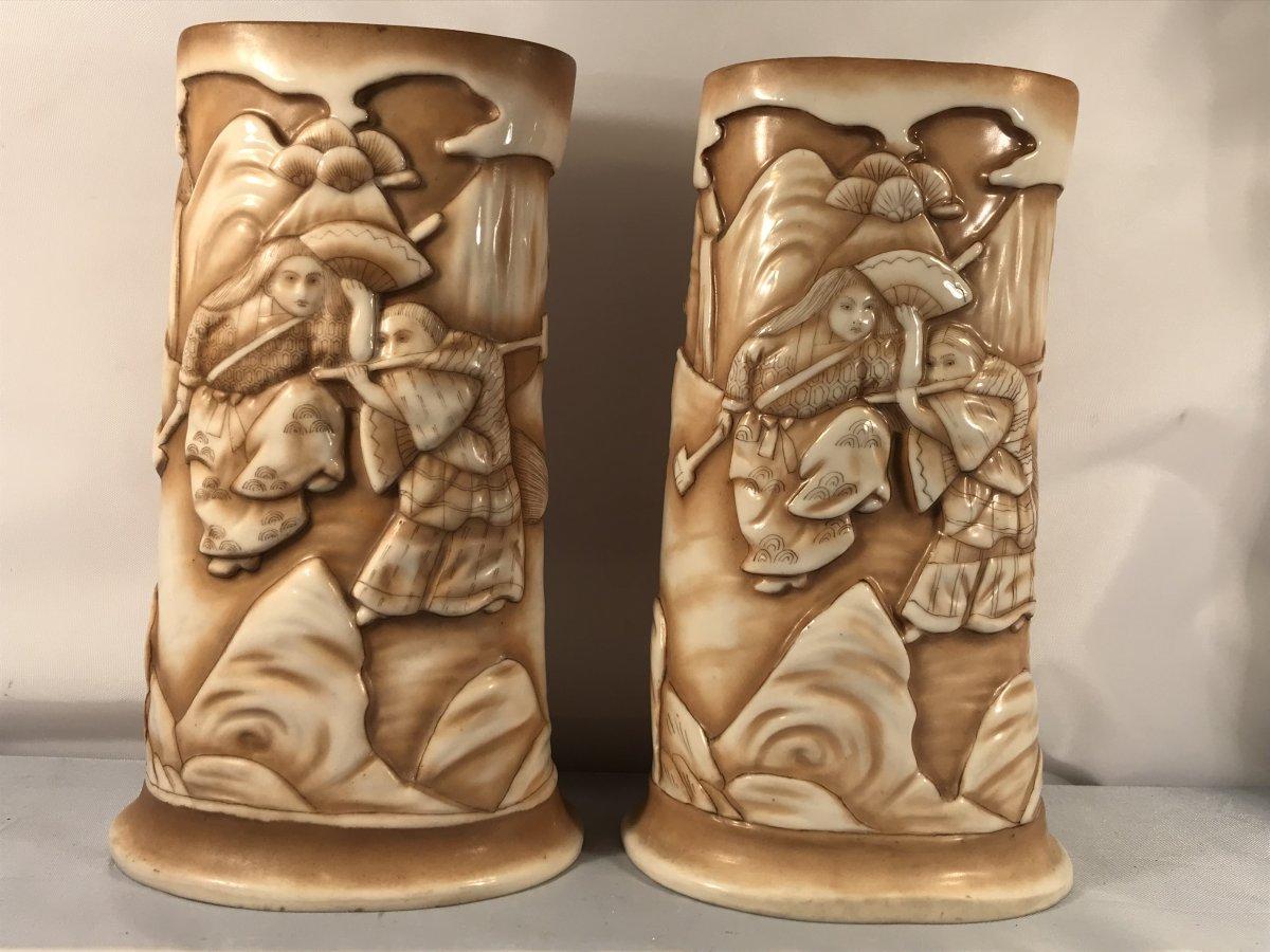 Paire de vases japonisants en porcelaine de Rudolstadt-Imitation défense d'éléphant sculptée