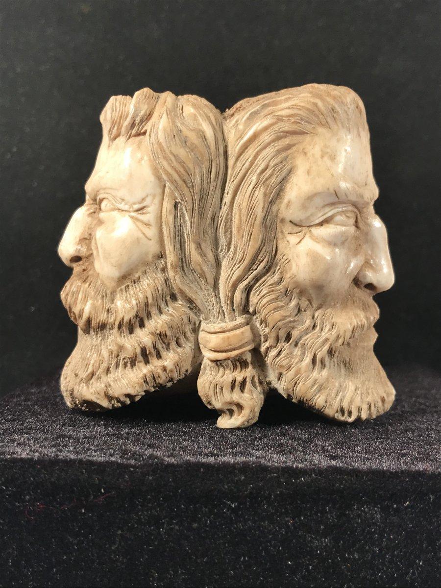 19th Sculpture-heads Of Barbarian-deer Antlers-folk Art-curiosity