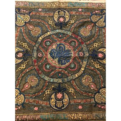 Ottoman Table Mat 19th-tughra-islamic Calligraphy-embroidery