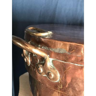 Curious 19th Century Copper And Brass Pot, Transformed Into A Militaria Bowl