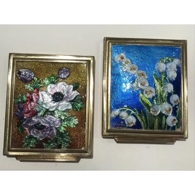 Anemones And Lily Of The Valley - Two Luminous Enamels From Thoumieux-limoges-poudrier
