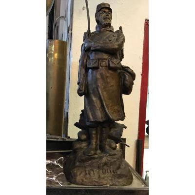 Un Poilu : bronze signé Joseph Ascoli (1847-1929)-14/18-Militaria-Soldat