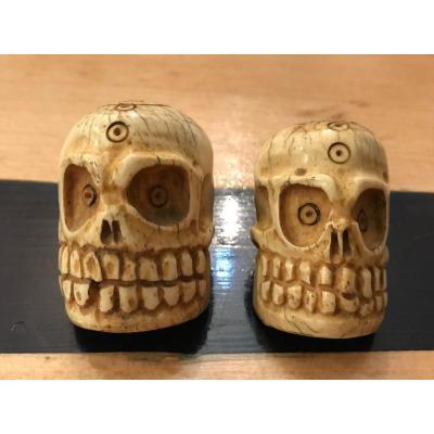 Pair Of Old Ivory Amulets: Memento Mori-skull
