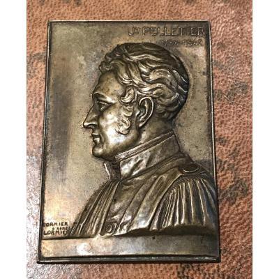 Découvreur de la quinine,  Pelletier (1788-1842)-Médaille en bronze de Cormier d'après Lormier