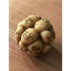 Tête en boule-Pommeau de canne en ivoire sculpté-Japon