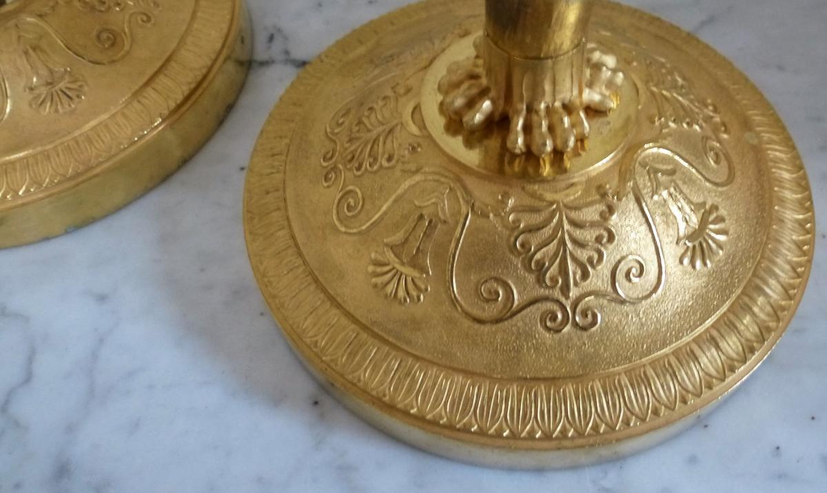 Paire De Bougeoirs En Bronze Doré   Epoque Empire