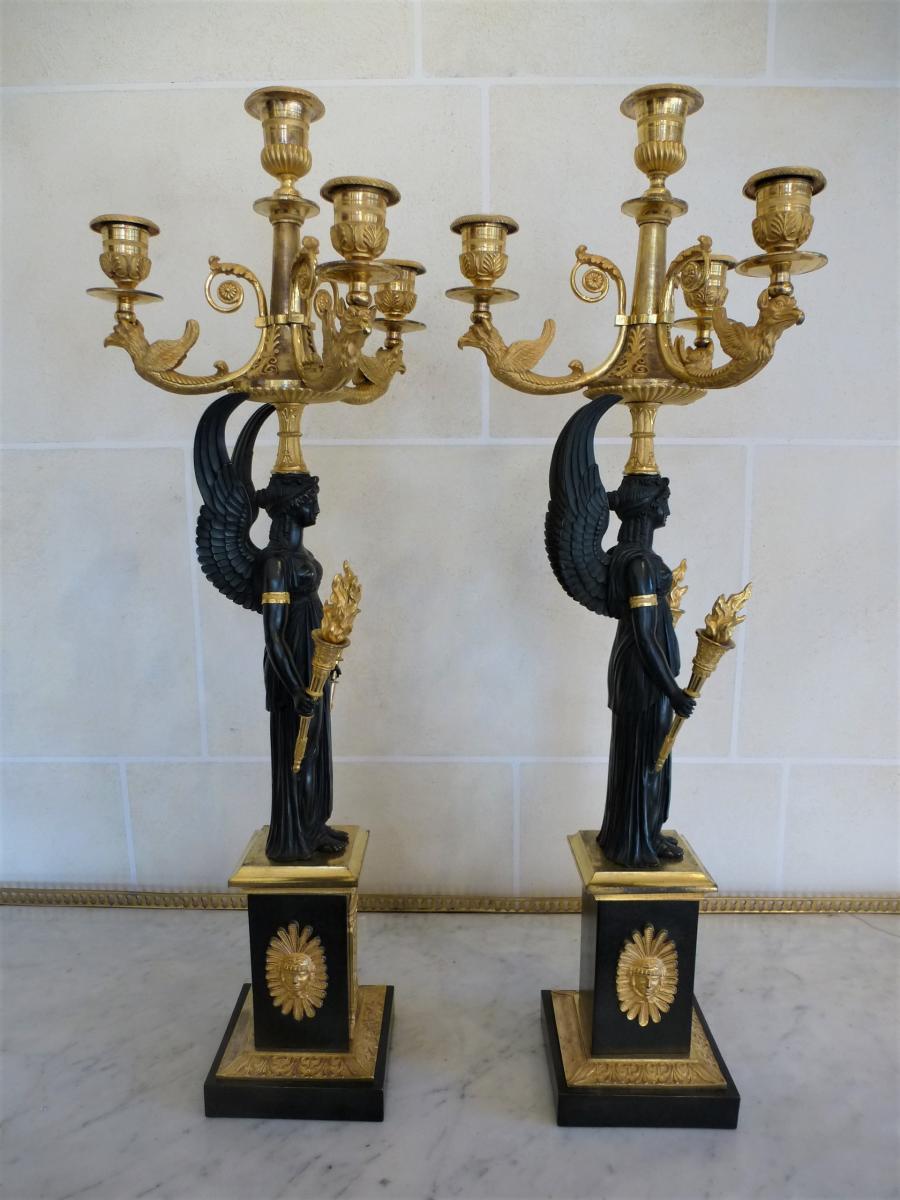 Paire De Candélabres En Bronze  Epoque Empire