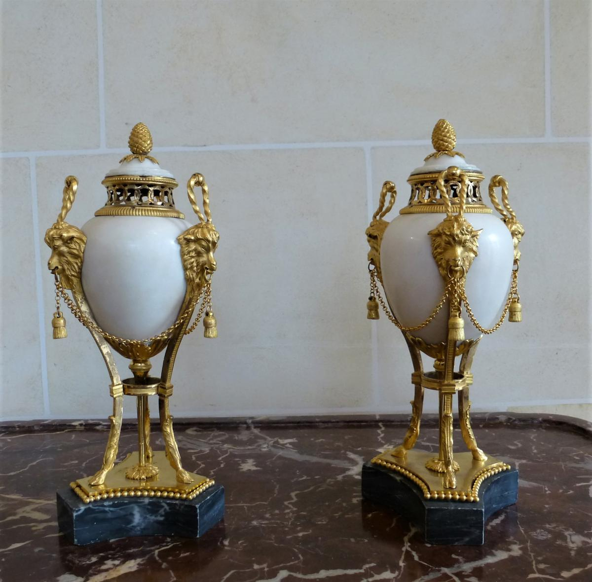 Paire De Cassolettes Brûle-parfums  Epoque Louis XVI