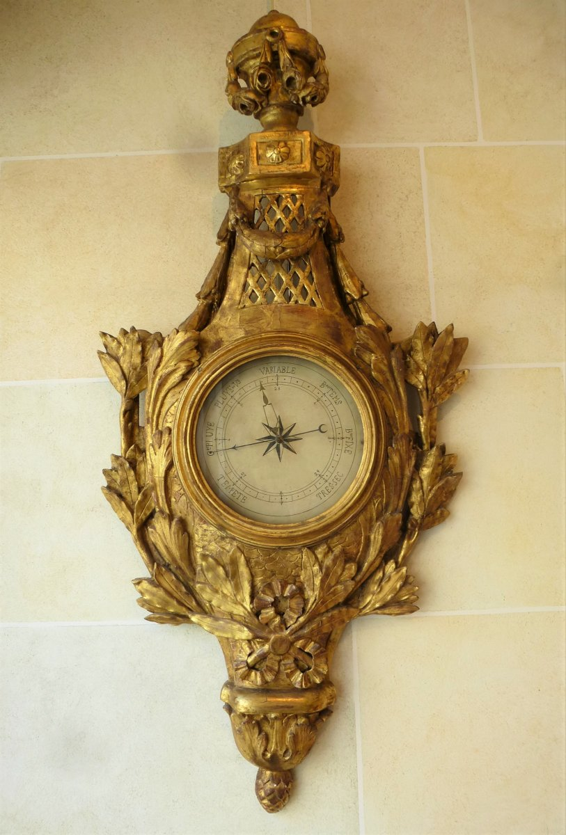 Barometer In Carved And Gilded Wood Louis XVI Period
