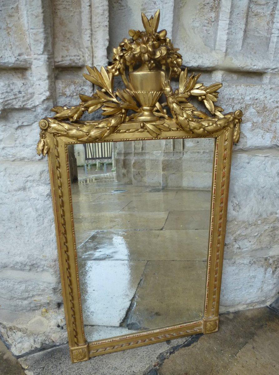Miroir En Bois Doré   Style Louis XVI-photo-4