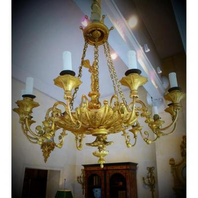 Chandelier Carved And Gilded Empire Period