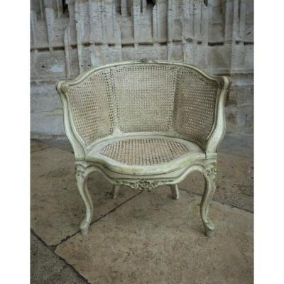 Caned And Lacquered Office Chair Louis XV Period