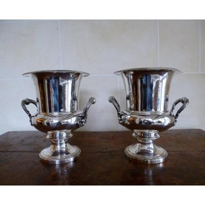 Pair Of Buckets To Refresh In Metal Plated Epoque Nineteenth Century