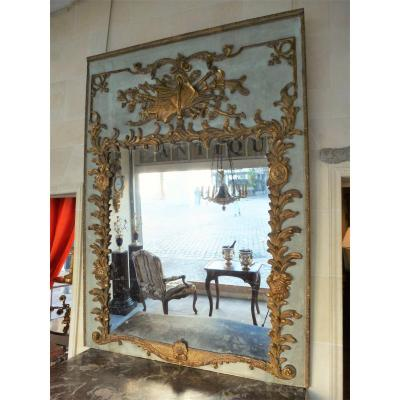 Trumeau Wood Lacquered And Gilded Louis XV