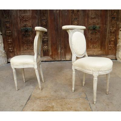 Pair Of Ponteuse Chairs In Lacquered Wood Louis XVI Period