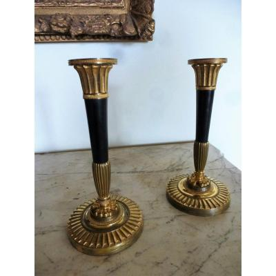 Pair Of Candlesticks In Patinated And Gilded Bronze Empire Period