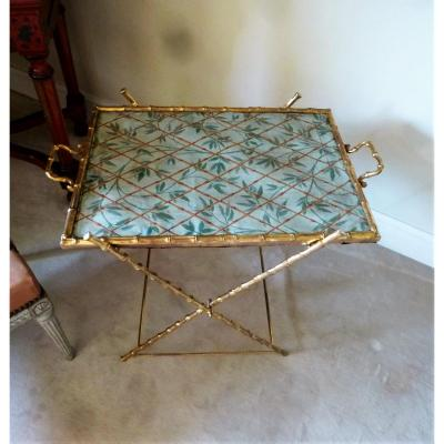 Table In Gilt Bronze Imitation Bamboo Epoque Twentieth Century