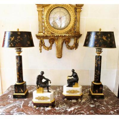 Paire De Lampes Carcel En Tôle Peinte Et Bronze Doré  Epoque Empire