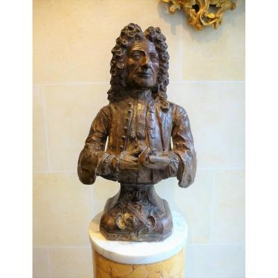 Bust Of Gentleman In Terracotta Epoque Eighteenth Century