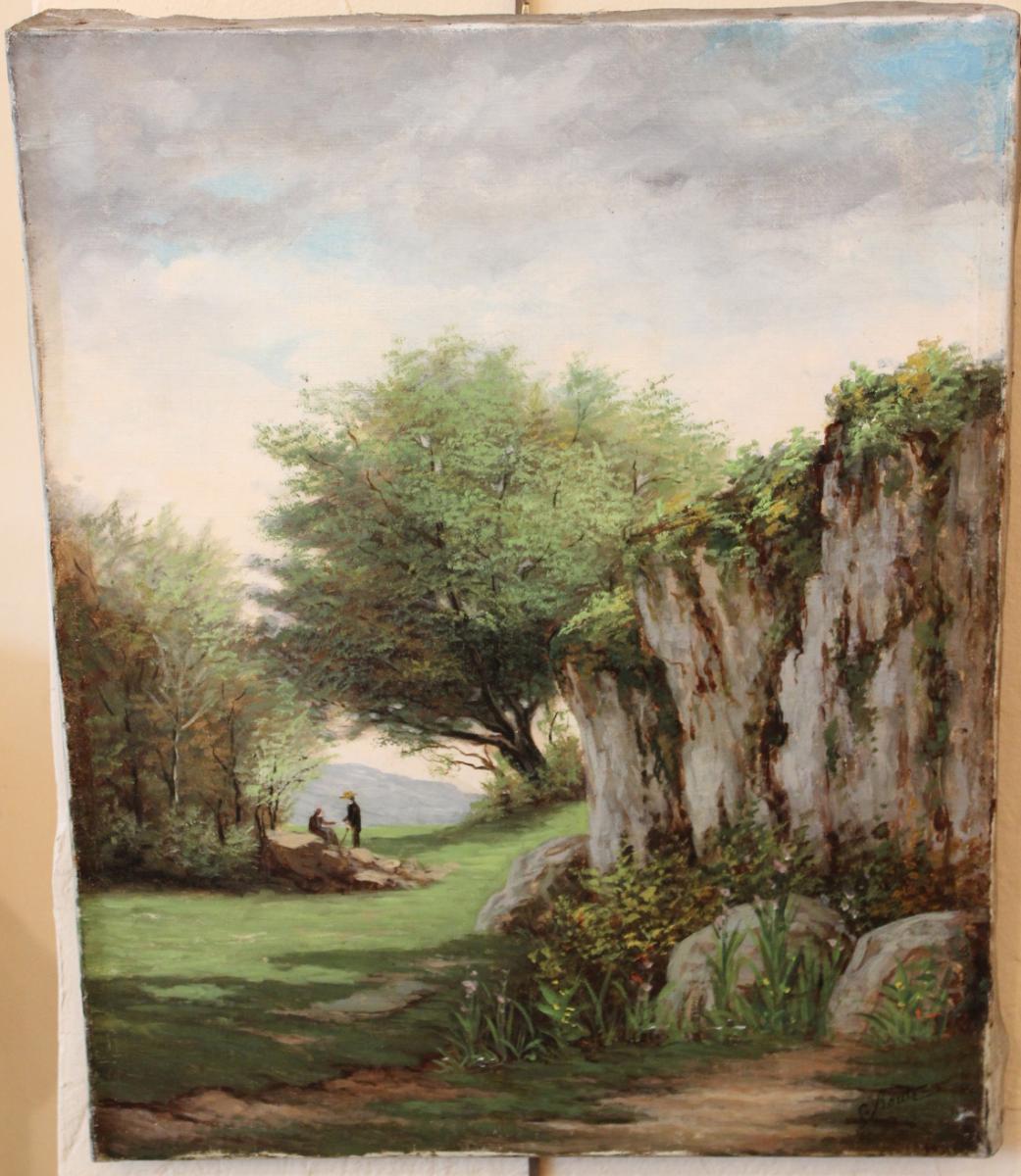 Oil On Canvas Pair Representative Of Mountain Scenery