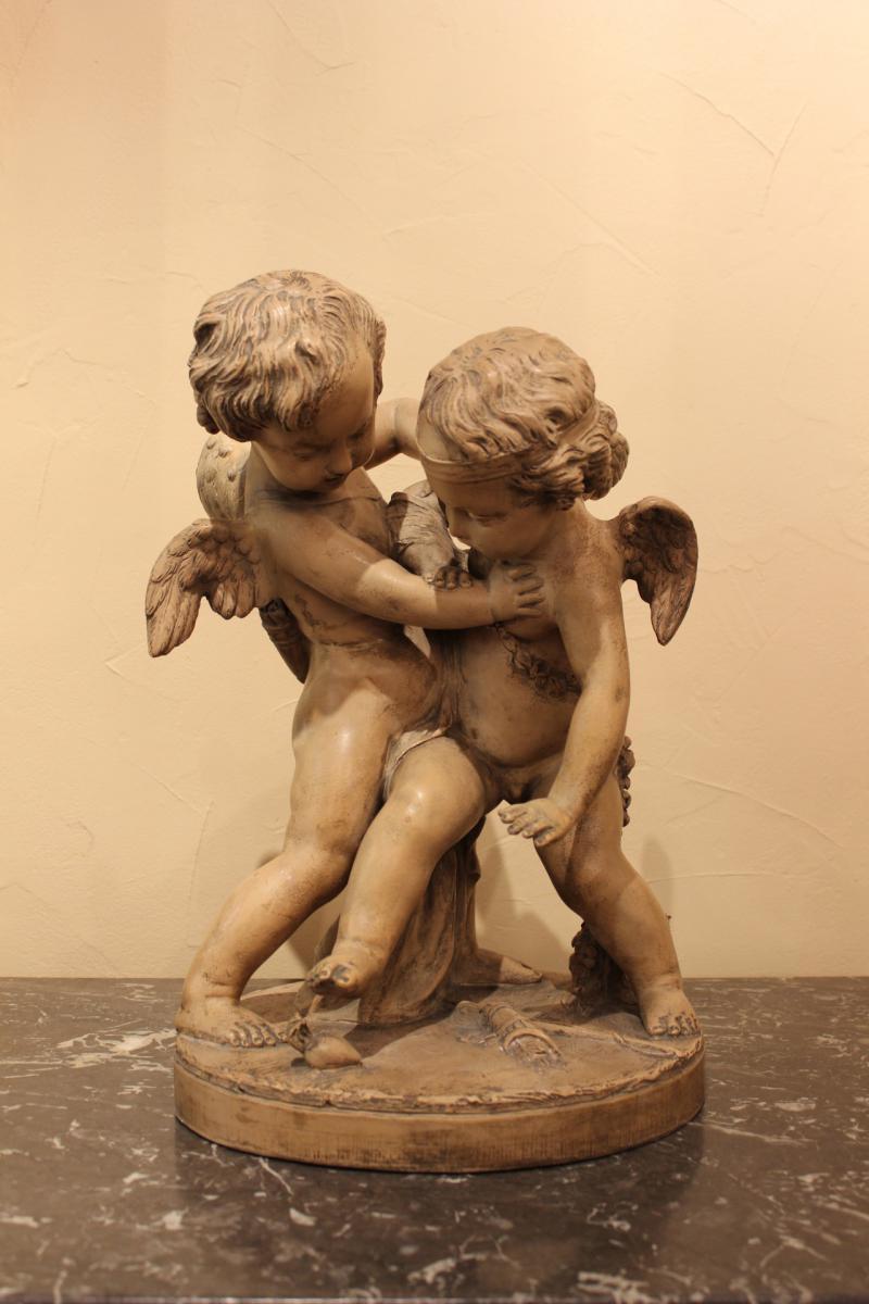 Sculpture d'Angelots En Terre Cuite