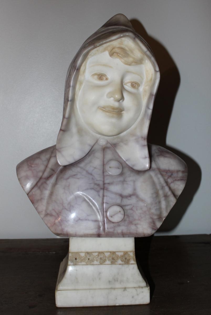 Buste De Jeune Fille En Albatre Par Lessi