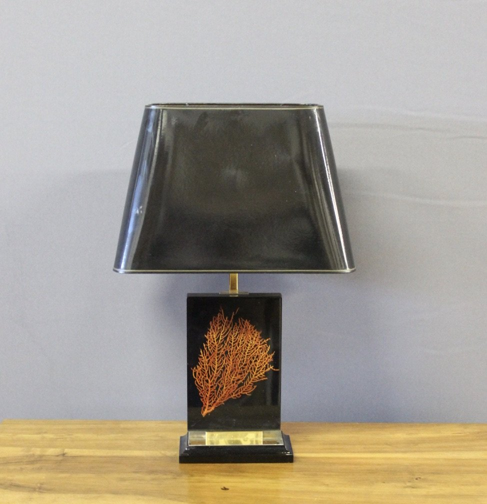 Lamp Late 1970 With Coral Decor