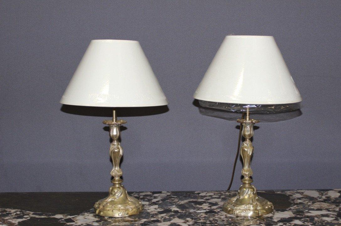 Paire De Bougeoirs Louis XV Montée En Lampe