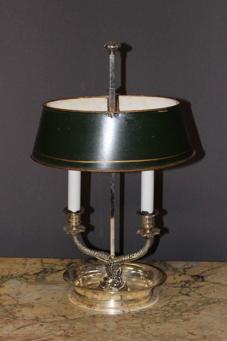 Lampe Bouillotte En Bronze Argenté