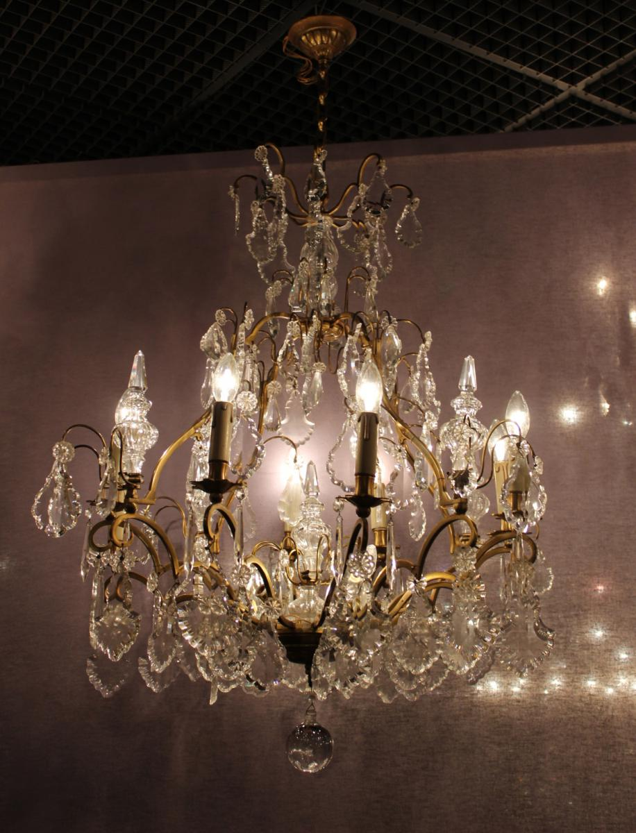Cage Bronze And Crystal Chandelier