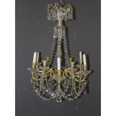 Chandelier Crystal Pendants And Gilt Bronze Baccarat