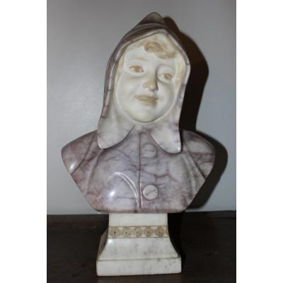 Bust Of Young Alabaster Girl By Lessi
