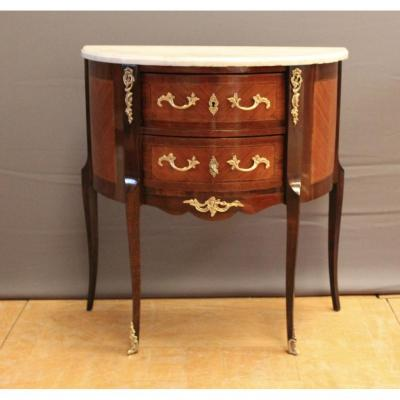 Half Moon Commode Louis XV Style In Marquetry