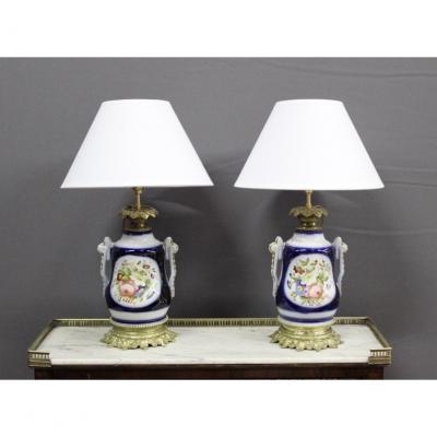 Paire De Lampes En Porcelaine De Bayeux Fin XIX