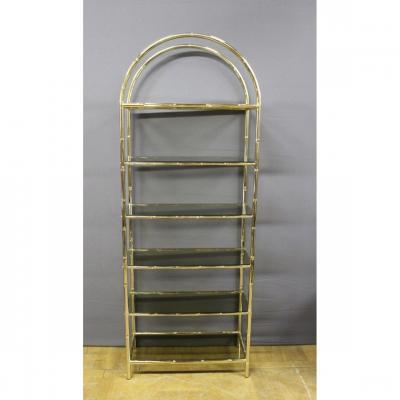 Shelf In Golden Metal Bamboo Style 1970