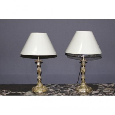 Pair Of Louis XV Candlesticks Mounted In Lamp