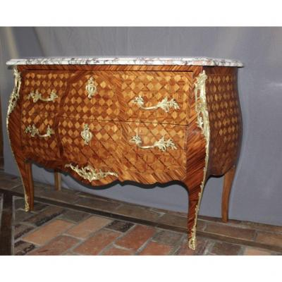 Louis XV Style Commode In Cube Marquetry