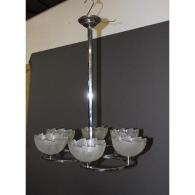 Art Deco Period Chandelier In Chrome And Pressed Glass